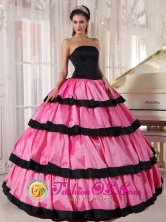 Tepic Mexico Wholesale Rose Pink and Black Quinceanera Dress For 2013 Strapless Taffeta Layers Ball Gown Style PDZY627FOR