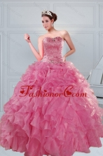 The Super Hot 2015 Beading and Ruffles Quinceanera Dresses in Coral Red XFNAOA06TZFXFOR