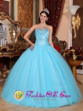 Tlalnepantla de Baz Mexico Customer Made Wholesale Pretty Baby Blue Sweetheart Beaded Decorate Quinceanera Dress Made In Tulle and Taffeta Style QDZY735FOR