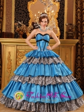 Tlaquepaque Mexico Wholesale Leopard Sky Blue Customized Cake Ball Gown Layered Ruffles  Style QDZY034FOR