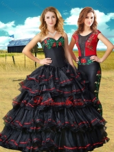 Two For One Black Sweet 16 Dress with Embroidery and Ruffled Layers XFQD1072FOR