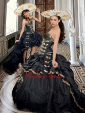 Two For One Taffeta Beaded and Applique Black Sweet 16 Dress with Brush Train XFQD1021FOR