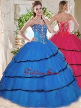 Wonderful Beaded and Ruffled Layers Blue Quinceanera Gown in Organza SJQDDT740002FOR