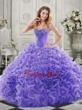 Wonderful Chapel Train Beaded and Ruffled Quinceanera Gown in Lavender SJQDDT516002-1FOR