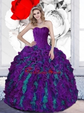 2015 Dynamic Beading and Ruffles Sweetheart Multi Color Quinceanera Dresses QDDTD17002-2FOR