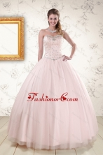 2015 Lovely Light Pink Beading Quinceanera Dresses XFNAO800FOR