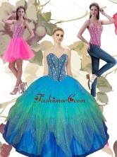 2015 New Arrival Beading Sweetheart Tulle Quinceanera Dresses in Turquoise QDDTA64001FOR