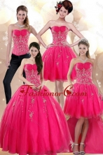 2015 New Arrival Elegant Strapless Hot Pink Dresses for Quince with Appliques XFNAO209TZA2FOR