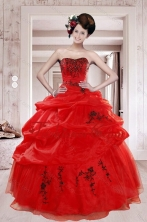 2015 New Arrival Perfect Red Quinceanera Dresses with Appliques and Pick Ups XFNAO508TZFXFOR