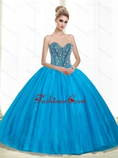 2015 New Arrival Sweetheart Ball Gown Beading Quinceanera Dresses in Teal QDDTA70002FOR