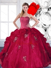 2015 New Arrival Sweetheart Beading and Ruffles Quinceanera Dresses with Appliques QDDTD22002FOR