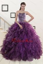 2015 New Style Purple Quinceanera Dresses with Beading and Ruffles XFNAO698FOR