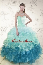 2015 Prefect Multi Color Quinceanera Dresses with Beading and Ruffles XFNAO5640FOR