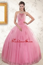 2015 Pretty Pink Quinceaneras Dresses with Appliques and Beading XFNAO601FOR