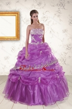 2015 Pretty Strapless Lilac Quinceanera Dresses with Appliques XFNAO559FOR