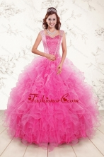 2015 Pretty Straps Hot Pink Quinceanera Dresses with Beading XFNAOA46FOR