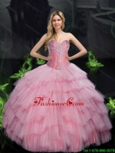 2015 Summer Elegant Ball Gown Quinceanera Dresses with Beading in Baby Pink SJQDDT77002FOR