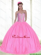 2015 Summer Elegant Sweetheart Quinceanera Dresses with Beading in Pink SJQDDT52002FOR