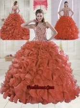 2015 Sweetheart Brush Train Red Quinceanera Dresses XLFY091906B-15FOR