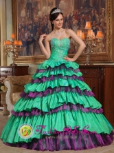 Achutupo Panama Taffeta and Organza Green and Purple Beading For 2013 Sweet Quinceanera Dress With Sweetheart wholesale Style QDZY331FOR