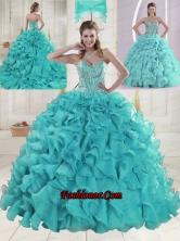 Aqua Blue Sweetheart Brush Train Beading Quinceanera Dresses XLFY091906B-23FOR