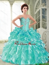 Beautiful 2015 Fall Sweetheart Quinceanera Dresses with Ruffles and Beading SJQDDT62002FOR