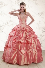 Beautiful Beading and Appliques Watermelon Red Sweet 16 Dresses XFNAO144FOR