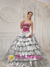 Berba Panama Beautiful strapless 2013 Popular Princess Quinceanera Dress with Brilliant silver  wholesale Style QDZY425FOR