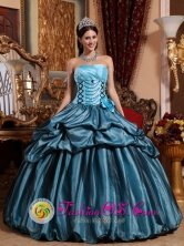 Boca de Parita Panama Wholesale Blue Hand Made Flower Pick-ups Sweet Spring Quinceanera Dress With Strapless Taffeta Style QDZY485FOR