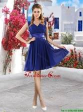 Discount V Neck Short Dama Dresses in Royal Blue BMT061AFOR
