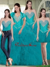 Elegant 2015 Summer Sweetheart Quinceanera Dresses with Beading and Ruffles in Turquoise SJQDDT86001FOR