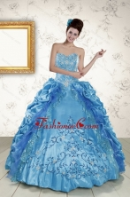 Elegant Sweetheart Embroidery Sweet 16 Dress in Blue XFNAOA36FOR