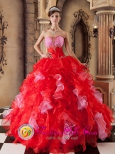 Entradero Panama Red Ball Gown Strapless Floor-length Organza Dress For 2013 Quinceanera Style QDZY250FOR