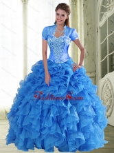 Exclusive Appliques and Ruffles Sweetheart Quinceanera Dresses for 2015 QDDTA48002FOR