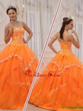 Fashionable Appliques and Beading Sweet 15 Dresses in Orange QDZY311DFOR