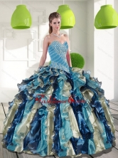 Fashionable Multi Color Quinceanera Dresses with Beading and Ruffles for 2015 QDDTC6002FOR