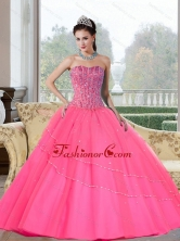 Free and Easy Beading Strapless Quinceanera Dresses for 2015 QDDTD20002FOR