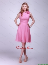 Gorgeous Rose Pink Prom Dresses with Pleats and Hand Made Flowers for 2016 DBEE160FOR