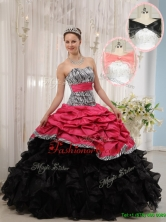 Hot Sale Red and Black Sweetheart Quinceanera Dresses in Zebra for 2016  QDZY434-2AFOR