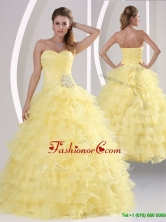 Inexpensive Appliques and Ruffled Layers Quinceaners Gowns MQR50AFOR