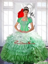 New Arrival 2015 Winter Ball Gown Quinceanera Dress with Ruffled Layers and Beading SJQDDT50002FOR