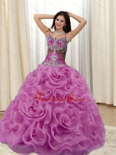 New Arrival Appliques and Rolling Flowers Multi Color 2015 Quinceanera Dresses SJQDDT20002-1FOR