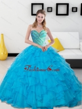 New Arrival Baby Blue Beading and Ruffles Sweetheart Quinceanera Dresses SJQDDT14002FOR