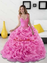 New Arrival Beading and Rolling Flowers Rose Pink Quinceanera Dresses SJQDDT18002FOR