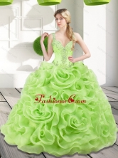 New Arrival Beading and Rolling Flowers Spring Green 2015 Quinceanera Dresses SJQDDT17002FOR