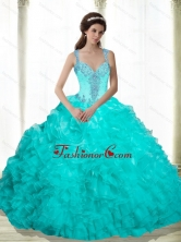 New Arrival Beading and Ruffles 2015 Quinceanera Dresses in Aqua Blue SJQDDT16002FOR