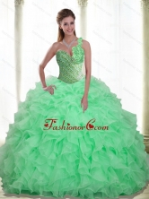 New Arrival Beading and Ruffles Apple Green 2015 Quinceanera Dresses with Sweetheart SJQDDT13002FOR