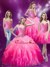 New Arrival Beading and Ruffles Organza Quinceanera Dresses in Multi Color SJQDDT15001FOR