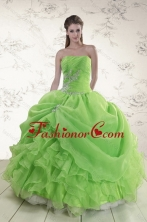New Arrival Brand New Spring Green Strapless Sweet 15 Dresses with Ruffles and Beading XFNAO5801TZFXFOR