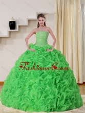 New Arrival Cheap Strapless Spring Green Quinceanera Dress with Beading and Ruffles QDZY257TZFXFOR